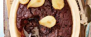 Chocolate, ginger and pear pudding