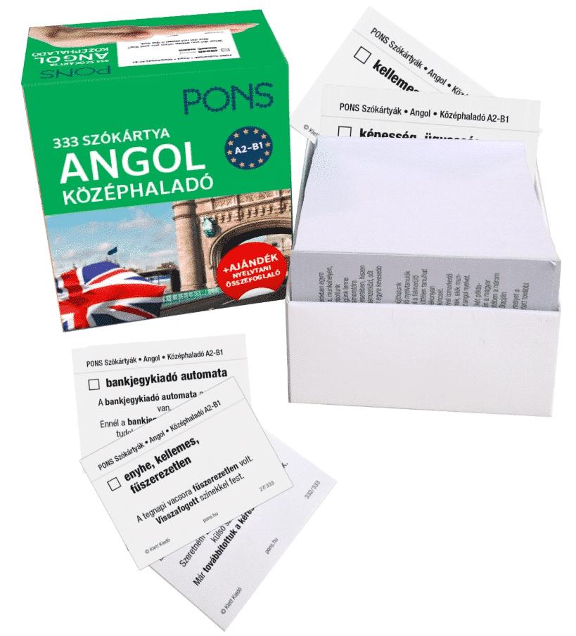 PONS ANGOL szókártyák – középhaladó A2 B1 – 333 szó