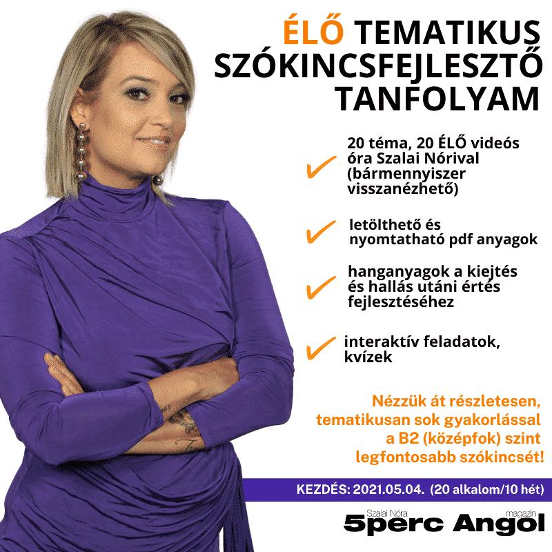 ÉLŐ 20 alkalmas TEMATIKUS SZÓKINCSFEJLESZTŐ tanfolyam Szalai Nórival – 2021.05.04-től