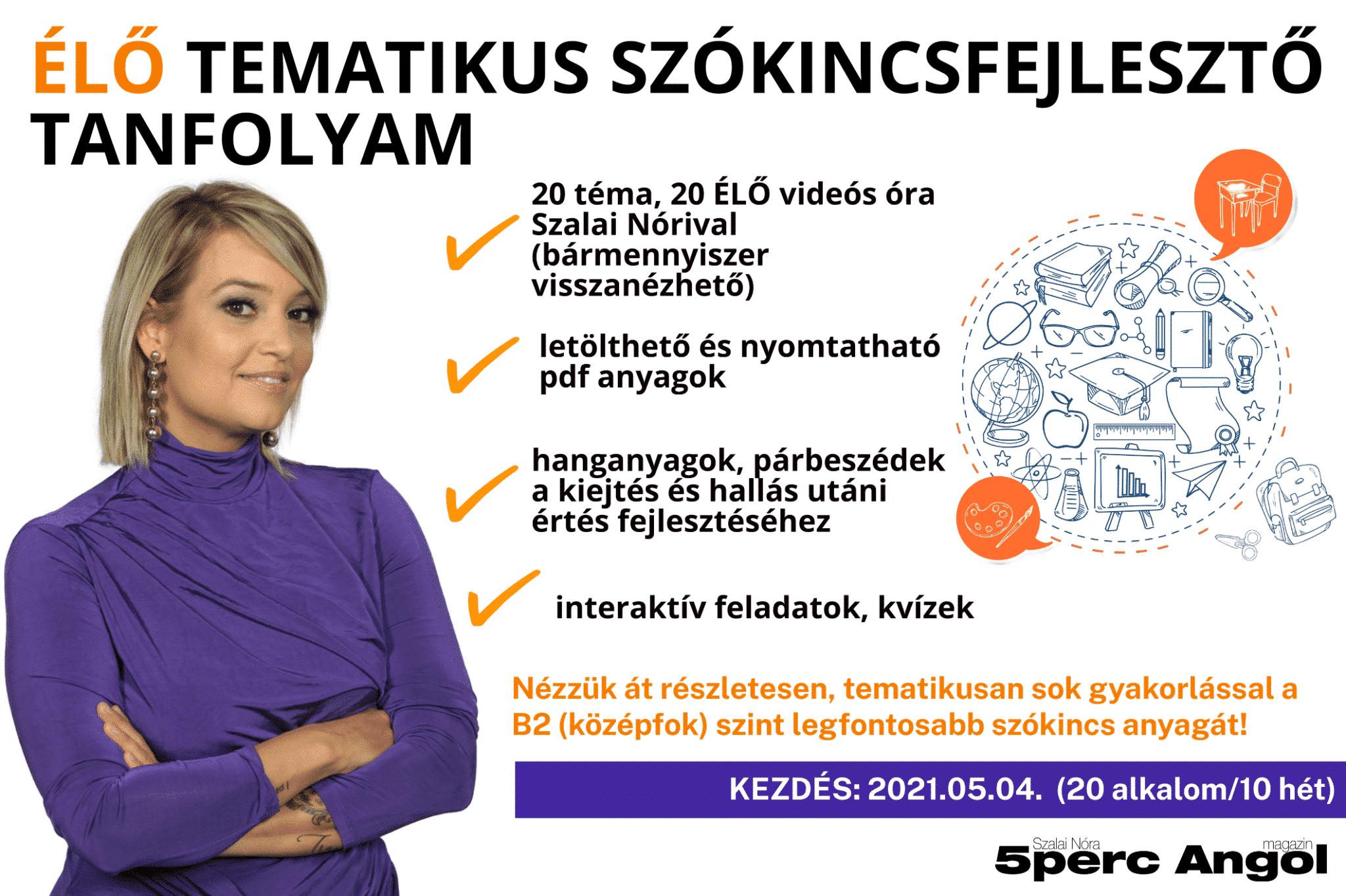 20 alkalmas TEMATIKUS SZÓKINCSFEJLESZTŐ tanfolyam Szalai Nórival